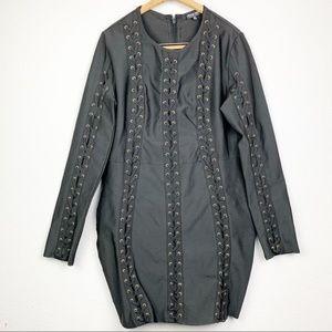 Fashion Nova Long Sleeve Lace Up Bandage Dress 3X